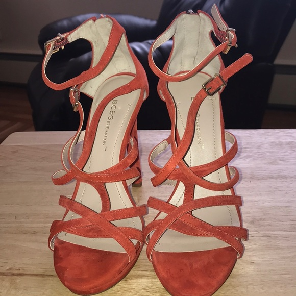 7fd5f0ea41 BCBGeneration Shoes | Bcbg Generation Orange Suede Heels | Poshmark